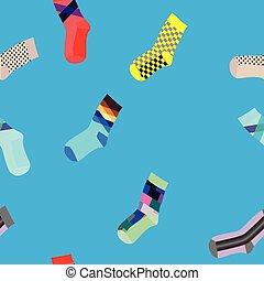 Socks seamless pattern on blue background