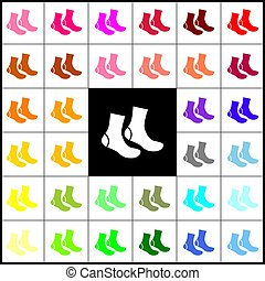 Socks sign. Vector. Felt-pen 33 colorful icons at white and black backgrounds. Colorfull.