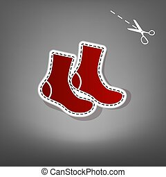 Socks sign. Vector. Red icon with for applique from paper with shadow on gray background with scissors.