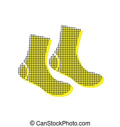Socks sign. Vector. Yellow icon with square pattern duplicate at