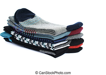 Socks - Stack of socks isolated on white background.