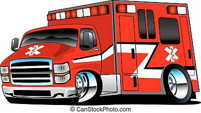 socorrista, vermelho, ambulância