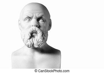 socrates, aislado, busto, griego, filósofo, mármol blanco