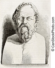 Socrates bust kept in Louvre museum, old illustration. By...