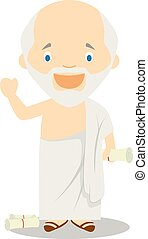 Socrates cartoon character. Vector Illustration.