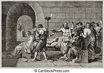 Socrates death old illustration, after tablet of David,...