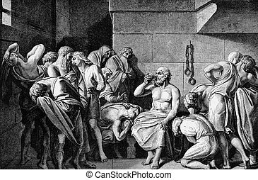 Socrates Drinking The Conium. Engraved by unknown engraver...