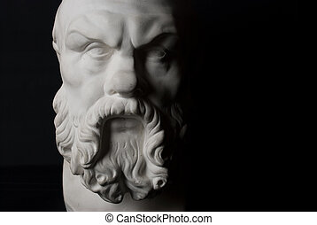 Socrates statue isolated on black background