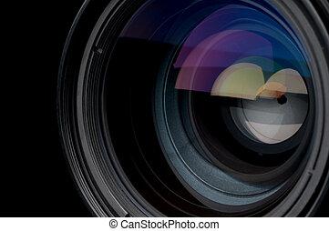 soczewka, fotograficzny, poziomy, aparat fotograficzny, closeup