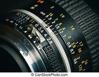 soczewka, zamknięcie, aparat fotograficzny, stary, do góry