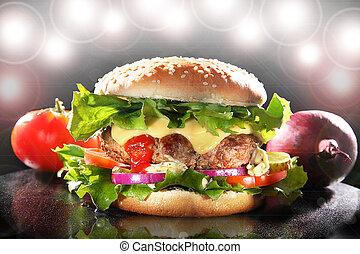 soczysty, hamburger, gwiazda