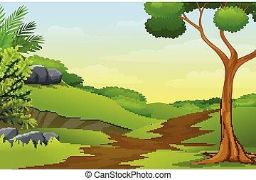 soczysty, outfield, ścieżka, drzewa, górki, zielony, przez, chodzenie