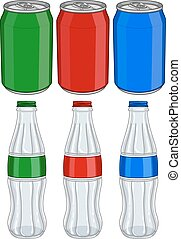 Vector illustration pack of red green and blue soda cans and glass bottles.