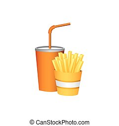 soda and fries french fast food, vector illustration image