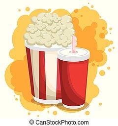 soda and pop corn menu vector illustration design