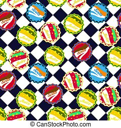 Soda bottle caps pattern vector on blue and white checkered background.
