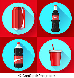 soda bottle set with red lable flat vector icon set