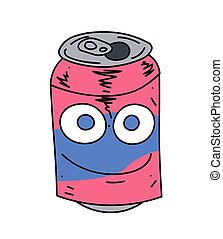 Soda can character cartoon hand drawn image