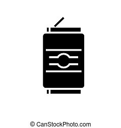 soda can icon, vector illustration, black sign on isolated background