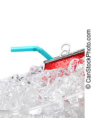 Soda can in ice with straw on White