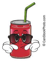 soda can in sunglasses