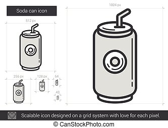 Soda can line icon.