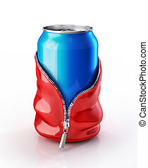 Soda can streaptease - Drink soda can, taking off a skin ...
