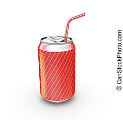 Soda can with straw - 3D render of a soda can with straw