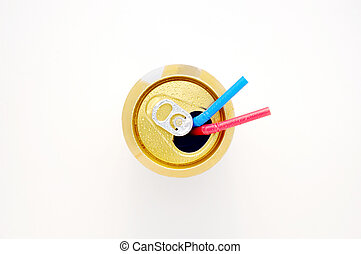Soda Can with Straws