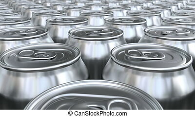 Soda cans 3D animation - Looping pan over the blank glossy...
