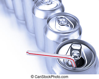 Soda cans and straw