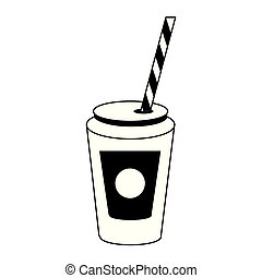 Soda cup with straw cartoon in black and white
