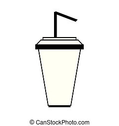 Soda cup with straw cartoon isolated in black and white