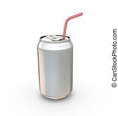 soda- dose, mit, stroh
