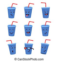 Soda drink emoticon set. Cartoon Smiley face.