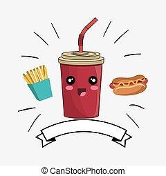 soda drink kawaii cartoon