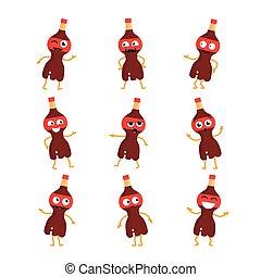 Soda Drink - vector set of mascot illustrations.