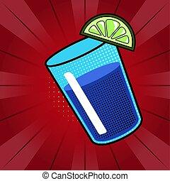 Soda drink with a lemon. Pop art style