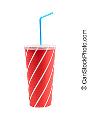 A soda drink with blue straw, isolated on white background