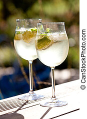 soda, hugo, elderflower, verano, prosecco, hielo, bebida