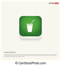 Soda Icon Green Web Button