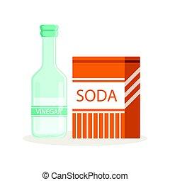 Soda in a craft paper bag and glass bottle of vinegar, baking ingredients vector Illustration