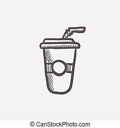Soda in plastic cup with straw sketch icon