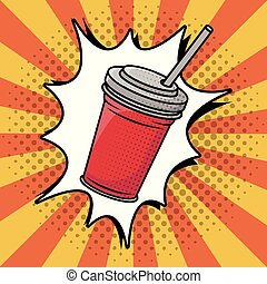 soda in plastic pot pop art style