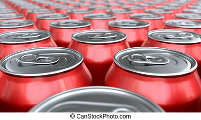 soda, latas, animação 3d