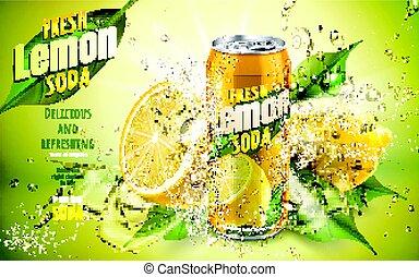 soda limone, fresco, annuncio