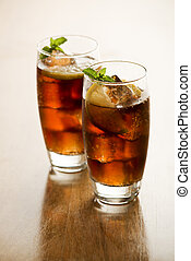 Soda or cola - Two Glasses of fresh cola or soda drink with...