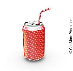 soda pode, com, palha