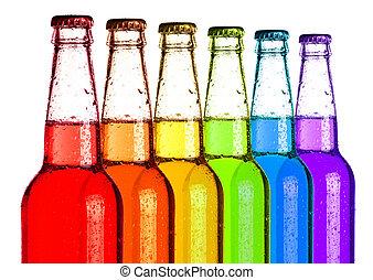 Soda Pop Rainbow - Soda pop bottles in rainbow colors.