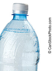 Soda water bottle with drops. Closeup. Isolated on white...
